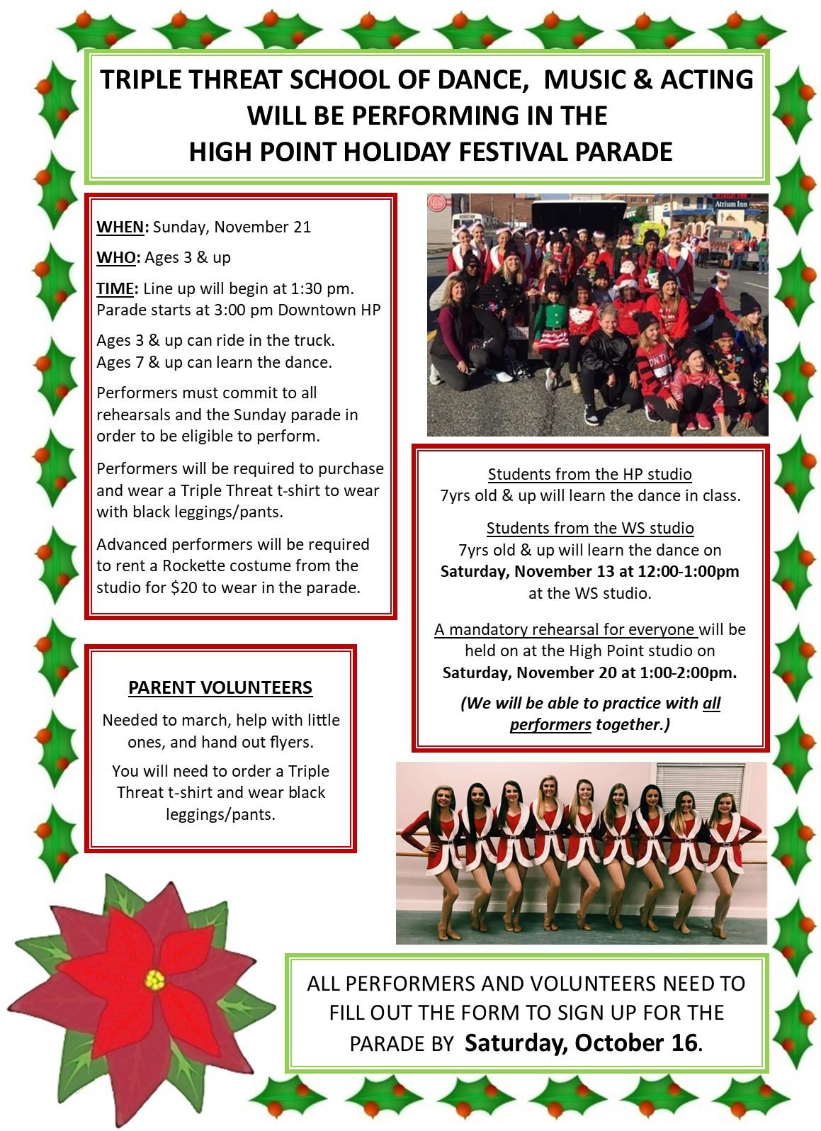Dance Studio Holiday Parade Flyer 2021